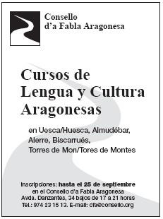 CURSOS DE LENGUA Y CULTURA ARAGONESAS