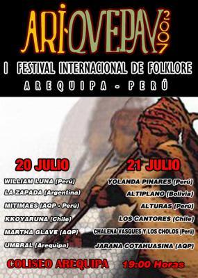 SE SUSPENDE EL PRIMER FESTIVAL DE MUSICA ARIQUEPAY 2007