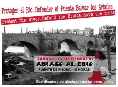 """ABRAZA EL EBRO - CADENA HUMANA PARA """"PROTEGER, DEFENDER Y SALVAR EL PUENTE Y LOS ARBOLES"""""""
